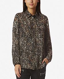 Avec Les Filles Leopard-Print Boyfriend Shirt with Pockets