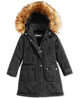 Steve Madden Hooded Parka with Faux-Fur Trim, Big Girls (7-16 ...