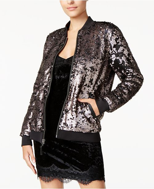 1c73be1b4ef2f GUESS Delilah Sequined Bomber Jacket & Reviews - Jackets ...