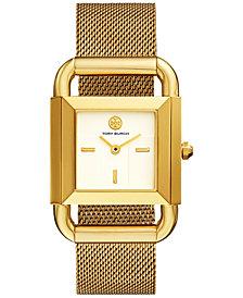 Tory Burch Women's Phipps Gold-Tone Stainless Steel Mesh Bracelet Watch 29x41mm