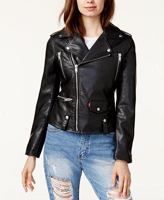Levi S Faux Leather Moto Jacket Jackets Women Macy S