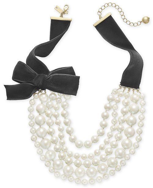 kate spade new york Gold-Tone Imitation Pearl & Black Velvet Layered Collar Necklace