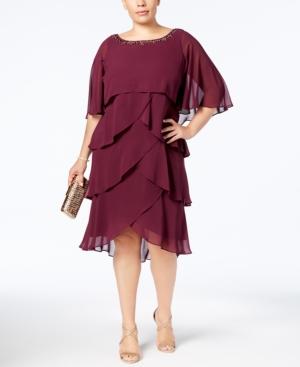 Sl Fashions Plus Size Embellished Tiered Chiffon Dress