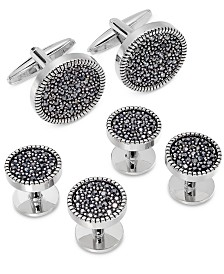 Sutton by Rhona Sutton Men's Silver-Tone Jet Cubic Zirconia Cufflinks & Tuxedo Buttons Set