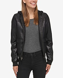 Hooded Faux-Leather Bomber Jacket