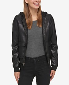 Levi's® Hooded Faux-Leather Bomber Jacket