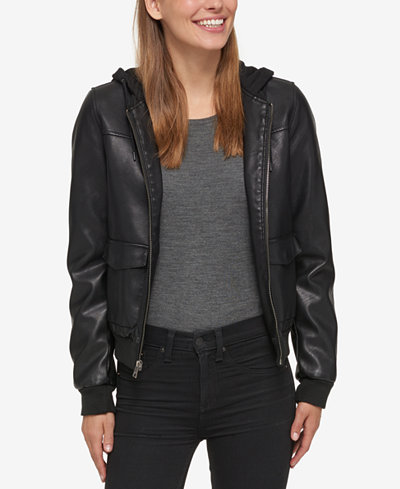 Levi's® Hooded Faux-Leather Bomber Jacket - Jackets - Women - Macy's