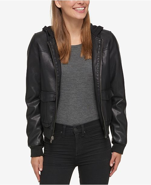 Levi s Hooded Faux-Leather Bomber Jacket - Jackets   Blazers - Women ... 597aea2ee