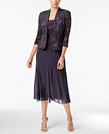 Sleeveless Jacquard Sparkle Dress and Jacket