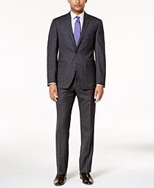 Tallia Men's Slim-Fit Charcoal & Purple Plaid Suit