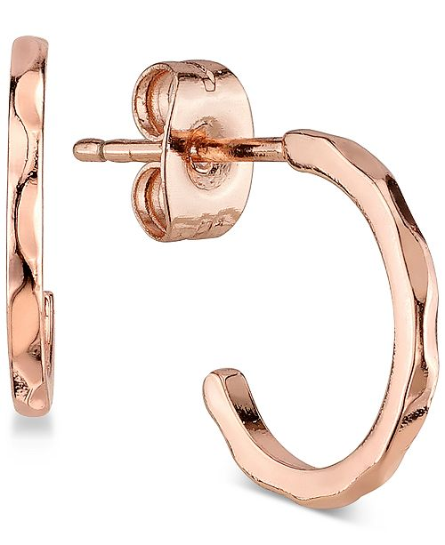 Unwritten Textured Hoop Earrings in Rose Gold Flashed Sterling Silver