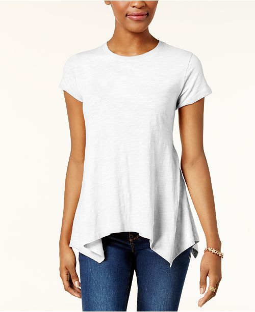 Style & Co Petite Cotton Handkerchief-Hem Top, Created for Macy's