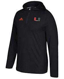 adidas Men's Miami Hurricanes Sideline Quarter-Zip Training Hoodie