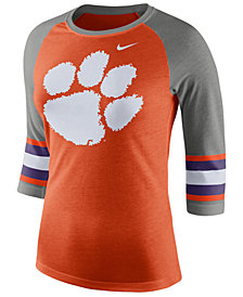 Nike Women's Clemson Tigers Team Stripe Logo Raglan T-Shirt