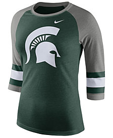 Nike Women's Michigan State Spartans Team Stripe Logo Raglan T-Shirt