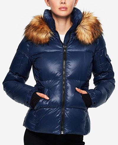S13 Faux-Fur-Trim Down Coat - Coats - Women - Macy's