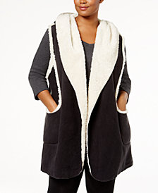 HUE® Plus Size Sleeveless Hooded Robe