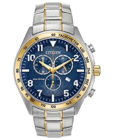 Citizen Eco-Drive Men's Two-Tone Stainless Steel Bracelet Watch 43mm, Created for Macy's