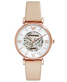 Emporio Armani Women's Automatic Meccanico Beige Leather Strap Watch 32mm