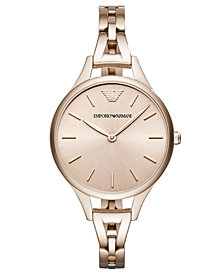 Emporio Armani Women's Pastel Pink Stainless Steel Bracelet Watch 32mm