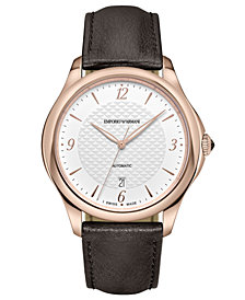 Emporio Armani Swiss Men's Automatic Esedra Brown Leather Strap Watch 43mm