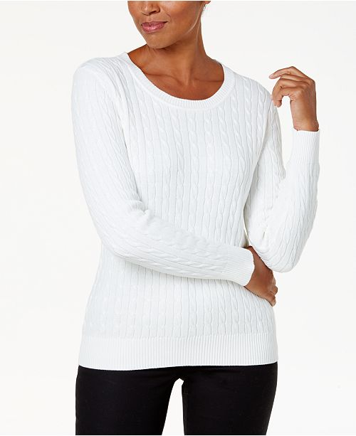 Karen Scott Cotton Cable-Knit Sweater, Created For Macy's