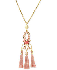 Lucky Brand Gold-Tone Pink Stone & Tassel Pendant Necklace, Created for Macy's