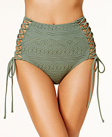 Hula Honey Juniors' Little Wild One Lace-Up Crochet High-Waist Bikini Bottoms, Created for Macy's