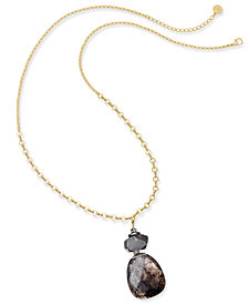 Paul & Pitü Naturally Gold-Tone Quartz & Rhinestone Pendant Necklace