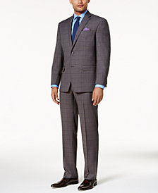 Sean John Men's Classic-Fit Gray & Blue Birdseye Stretch Suit Separates