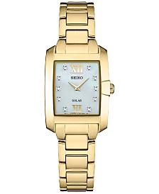 Seiko Women's Solar Dress Sport Diamond-Accent Gold-Tone Stainless Steel Bracelet Watch 24mm