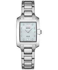 Seiko Women's Solar Dress Sport Diamond-Accent Stainless Steel Bracelet Watch 24mm