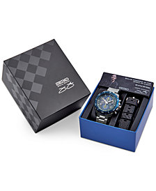 Seiko Men's Solar Chronograph Jimmie Johnson Special Edition Stainless Steel Bracelet Watch 45mm with Interchangeable Strap