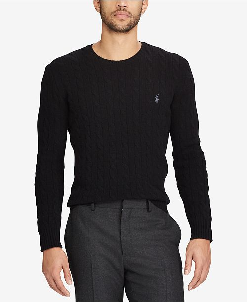Polo Ralph Lauren Men's Cable-Knit Wool and Cashmere Blend Sweater, Created for Macy's