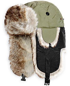 Woolwich Men's Adjustable Trooper Hat with Faux Fur