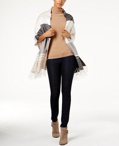 Calvin Klein Colorblock Blanket Wrap & Scarf In One