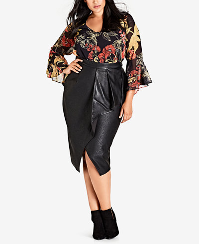 City Chic Trendy Plus Size Printed Open-Back Bell-Sleeve Top