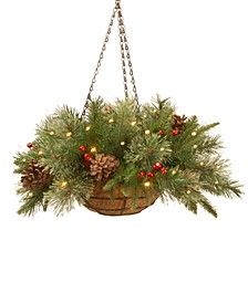 "20"" Feel Real® Colonial Hanging Basket with Pine Cones, Berries & 50 Battery-Operated LED Lights With Timer"