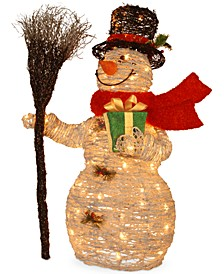 "35"" White Snowman With Gift, Broom & 70 Clear Lights"