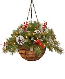 """20"""" Frosted Berry Hanging Basket With Cones, Berries & 50 LED Battery-Operated Lights With Timer"""