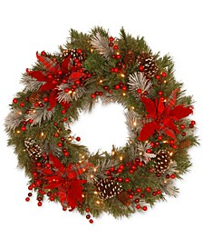 "24"" Tartan Plaid Wreath With Poinsettias, Pine Cones, Berries & 50 Battery-Operated LED Lights"