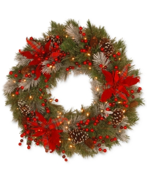 National Tree Company 24 Tartan Plaid Wreath With Poinsettias Pine Cones Berries  50 BatteryOperated Led Lights