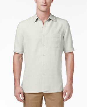 Tasso Elba Men's Silk and Linen Blend Crosshatch Short-Sleeve Shirt with Pocket, Created for Macy's 5593758