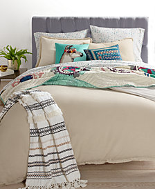 Whim by Martha Stewart Collection Cotton Linen Reversible Oatmeal Bedding Collection, Created for Macy's