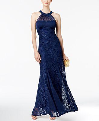 Nightway Petite Illusion Lace Halter Gown Dresses Petites Macys