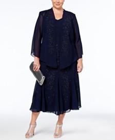 R&M Richards Plus Size Beaded V-Neck Dress and Jacket