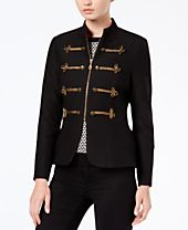 XOXO Juniors' Frogging-Trimmed Peplum Jacket