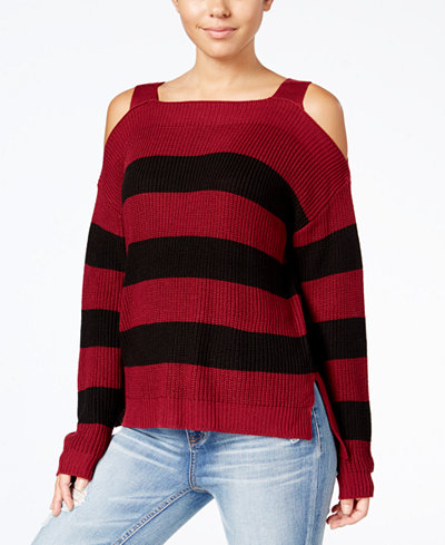 Hooked Up By It's Our Time Juniors' Cold-Shoulder Sweater