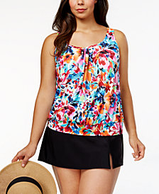 Swim Solutions Plus Size La Belle Fleur Underwire Blouson Tankini Top & Swim Skirt, Created for Macy's