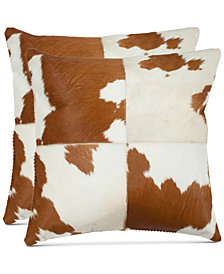 """Teddie Cowhide 18"""" Pillow (Set Of 2), Quick Ship"""